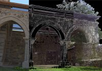 Iglesia Vilar de Donas (Lugo) – nube de puntos, aristas de modelado y renderizado interior