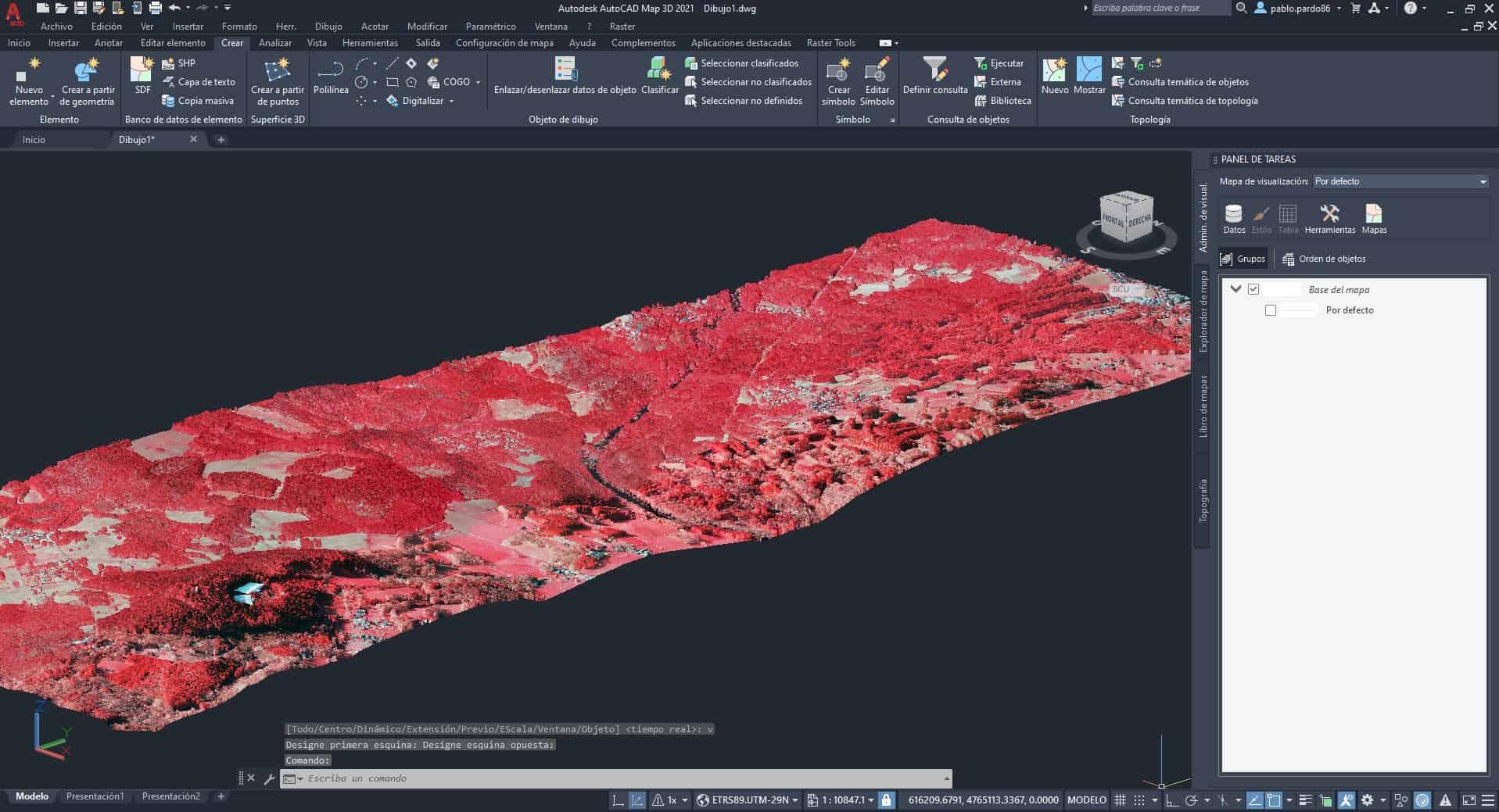 Ilustración 14 - Nube de puntos LIDAR incorporada en AutoCAD Map 3D